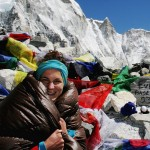 Annemien at Everest Base Camp in a Hex Valley Down Sleeping Bag